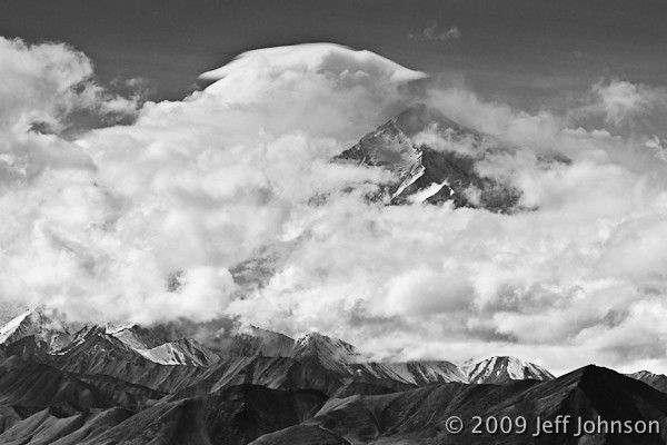 Denali obscured by clouds. Only the North Peak is visible.